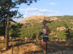 Jennifer Malmberg passing Horsetooth Rock on the Herrington trail.Photo by Rob Erskine