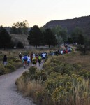 Runners heading north into Horsetooth Mountain Park at the start of the Blue Sky Marathon. Photo by Running Guru